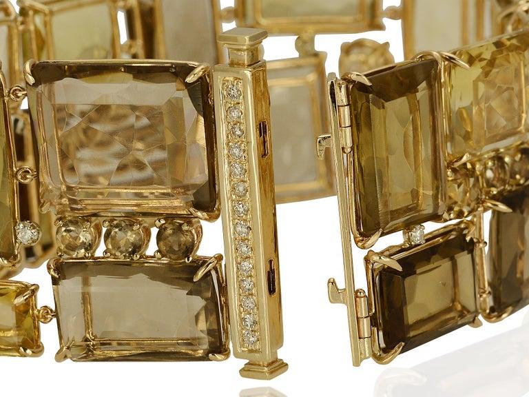 Contemporary 186 Carat Smoky Quartz, Citrine, and Diamond Bracelet For Sale