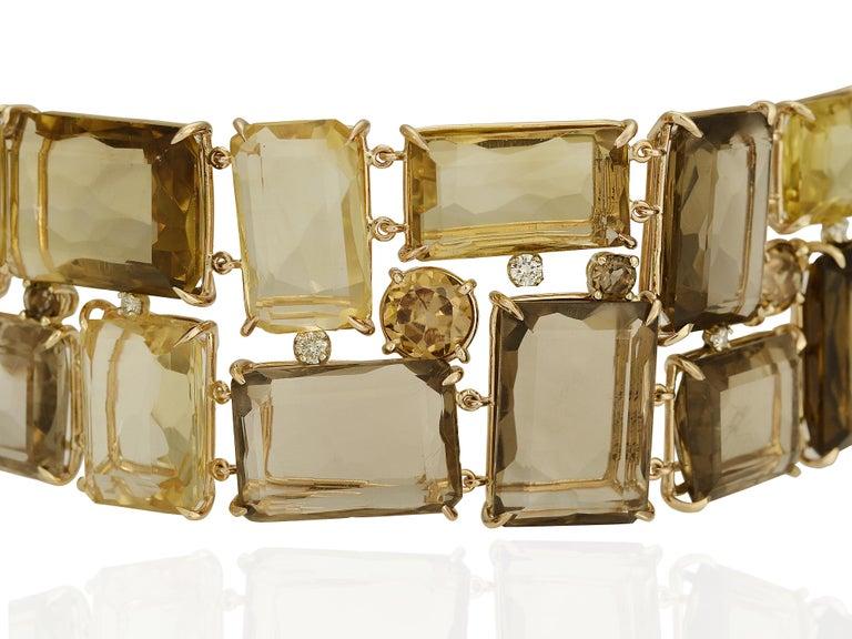 Cushion Cut 186 Carat Smoky Quartz, Citrine, and Diamond Bracelet For Sale