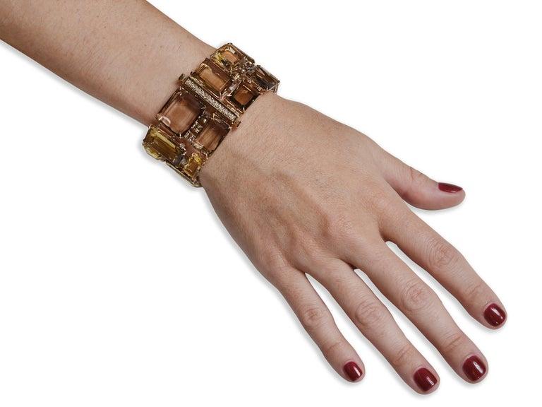 186 Carat Smoky Quartz, Citrine, and Diamond Bracelet In New Condition For Sale In Coral Gables, FL