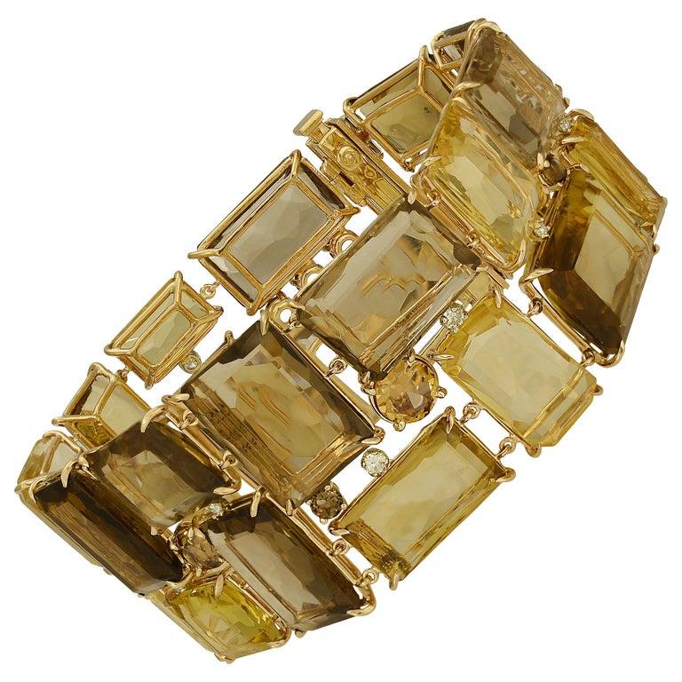 186 Carat Smoky Quartz, Citrine, and Diamond Bracelet For Sale