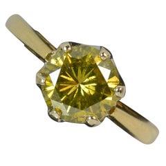 1.86 Carat Yellow Diamond 18 Carat Gold Solitaire Engagement Ring