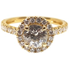 1.86 Carat Yellow Gold White Diamond Engagement Ring