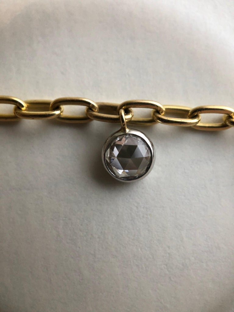 Rose Cut 1.86 Total Carat Weight Rose Nouveau Diamond and 18 Karat Gold Choker Necklace For Sale