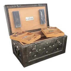 1860-1890 Italian Wrought Iron Antique Strongbox Newly Equipped as Cigar Humidor