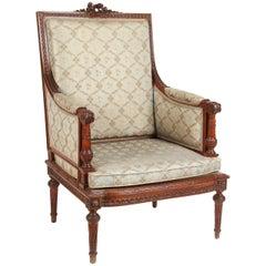 1860 French Carved Louis XVI Walnut Armchair