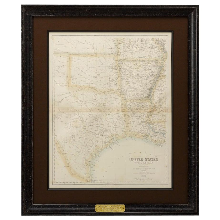 1860 Map of South Central United States by Swanston, Antique Hand-Colored Map