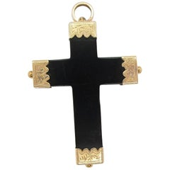 1860 Victorian 14 Karat Yellow Gold and Jet Cross Pendant