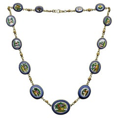 1860s 18 Kt Yellow Gold Necklace with Antique Roman Minute Micromosaics