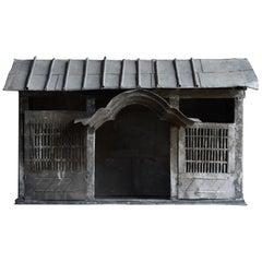 1860s-1920s Japanese Zushi God's House Buddha Wabisabi Object Galvanized Iron