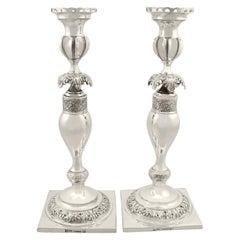 1860s Antique Russian Silver Candlesticks