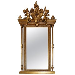 1860s Baroque Wall Mirror Decorated with Golden Frame