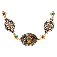 1890s Necklace with Colorful Stones and Enamel