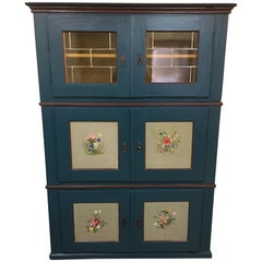 1860s Biedermeier Pine Wood Wall Cabinet with Fine Paintings