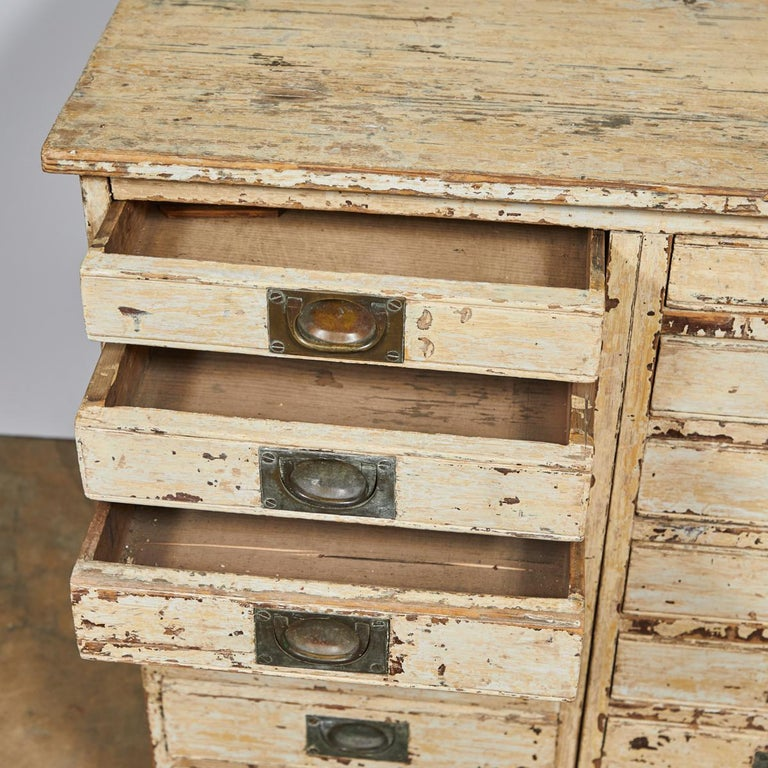 Painted 1860s English Collector's Drawer Cabinet Chest For Sale