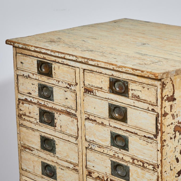 Wood 1860s English Collector's Drawer Cabinet Chest For Sale
