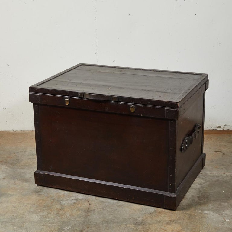 1860s English large painted camphorwood silver chest with leather handles. May be used as small coffee table.