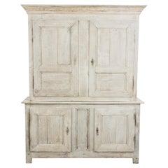 1860s French Bleached Oak Cupboard