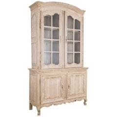 1860s French Oak China Cabinet a Deux Corps