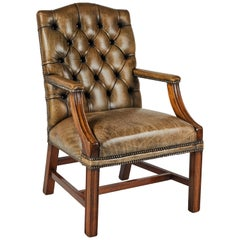 1860s Gainsborough Light Brown Original Leather Upholstered Tufted Armchair