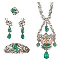 1850s Spanish Romantic  Elizabethan II  140ct Colombian Emeralds Parure