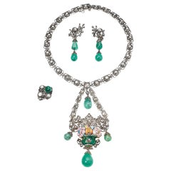 1860s Spanish Elizabethan Renaissance Necklace, Earrings, Ring Jewelry Set