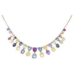 1860's Victorian 31.50 Carats Fancy Pink Blue Sapphire Fringe Drop Necklace