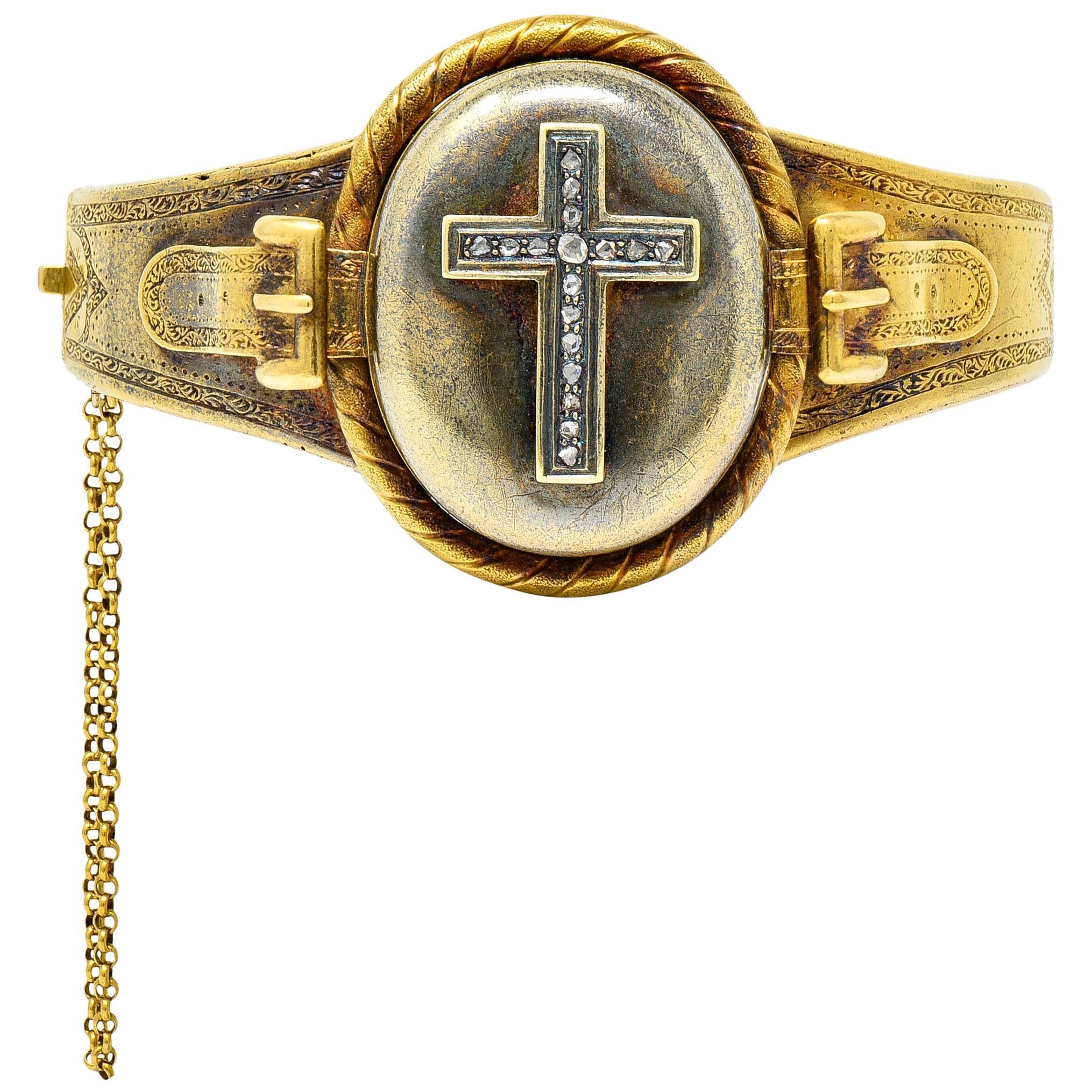 1860's Victorian Diamond 18 Karat Gold Mourning Locket Bangle Bracelet