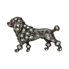 1860's Victorian Diamond Ruby Silver-Topped 14 Karat Gold Poodle Brooch