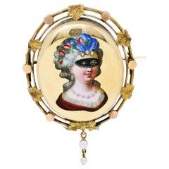 1860's Victorian Enamel Diamond Pearl 14 Karat Gold Masquerade Mask Brooch