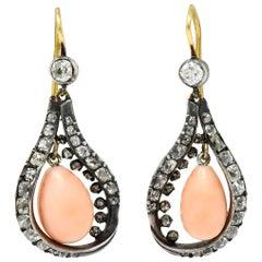 1860's Victorian Pink Coral 1.70 Carats Diamond 18 Karat Gold Drop Earrings