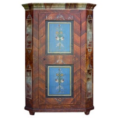 1861 Blue Brown Floral Painted Wardrobe