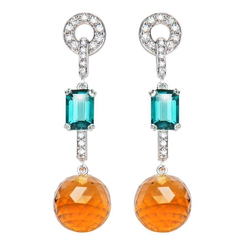 18.61 Carat Citrine Blue Tourmaline Diamond Drop Earrings Natalie Barney