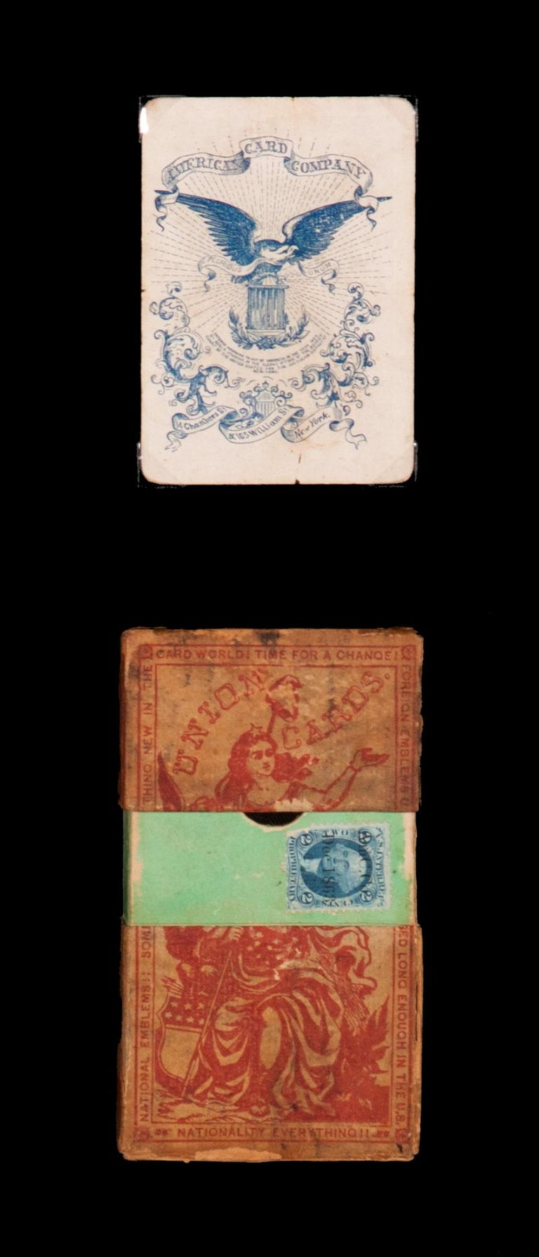 1862 Civil War playing cards with stars, flags, shields, & eagles, and face cards illustrating civil war officers and lady, Columbia, ca 1862, Benjamin Hitchcock, New York  1862 Civil War playing cards with suits represented by stars, flags,