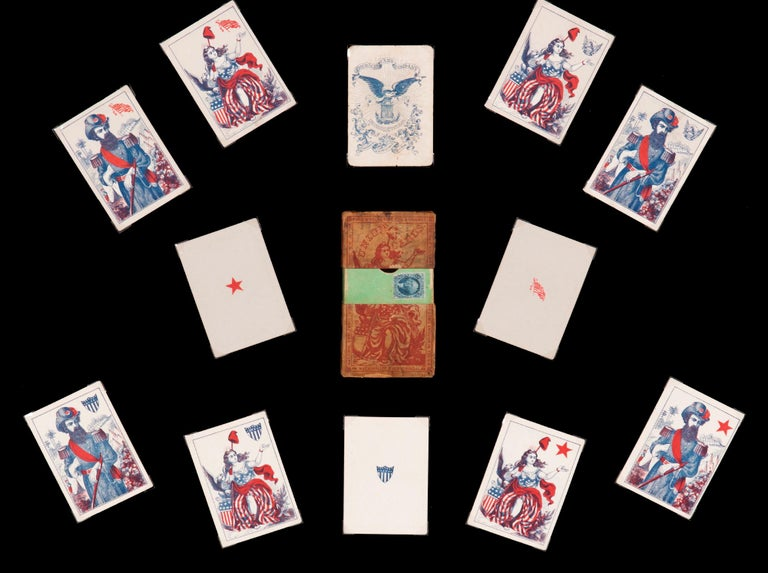 Mid-19th Century 1862 Civil War Playing Cards with Stars, Flag, Sheild's and Eagles For Sale