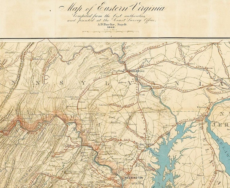 1862 Pocket Map of Eastern Virginia Representing the Seat of the Civil War
