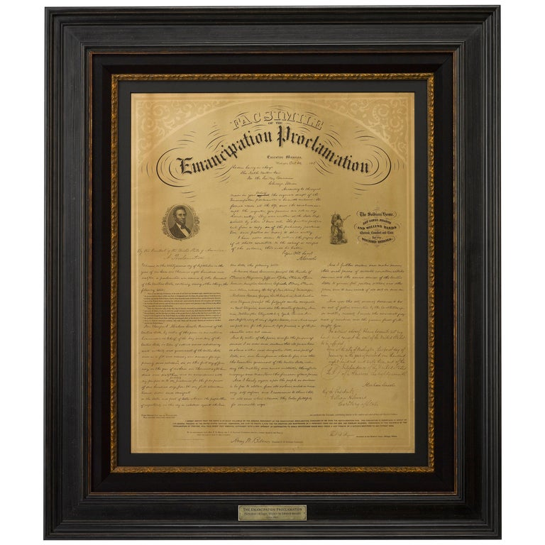 "1863 ""Facsimile Emancipation Proclamation"" Broadside by Edward Mendel For Sale"