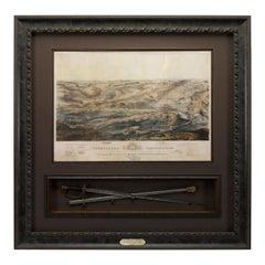 1863 Gettysburg Battlefield Bird's Eye View by J. Bachelder with Officer's Sword