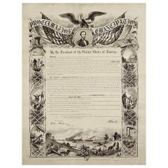 1864 Abraham Lincoln's Emancipation Proclamation, Antique Engraving by W Roberts