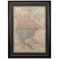 1864 Map of North America, Antique Hand-Colored Map, by Adolphe Hippolyte Dufour