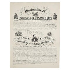 """1864 """"Proclamation of Emancipation,"""" Antique Engraving by Charles Shober"""