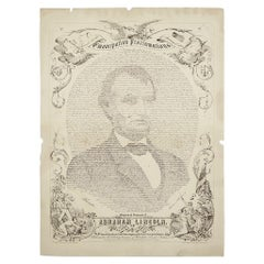 1865 Emancipation Proclamation with Abraham Lincoln Portrait, Antique Engraving
