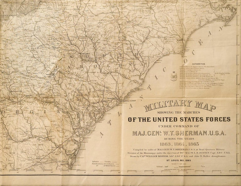 """This is an 1865 issue of """"Military Map Showing the Marches of the United States Forces under the Command of Maj. Gen. W.T. Sherman"""" which covers the years of 1863, 1864, and1865. Engraved at Head Qrs., Corps of Engineers, by H. C. Evans & F."""