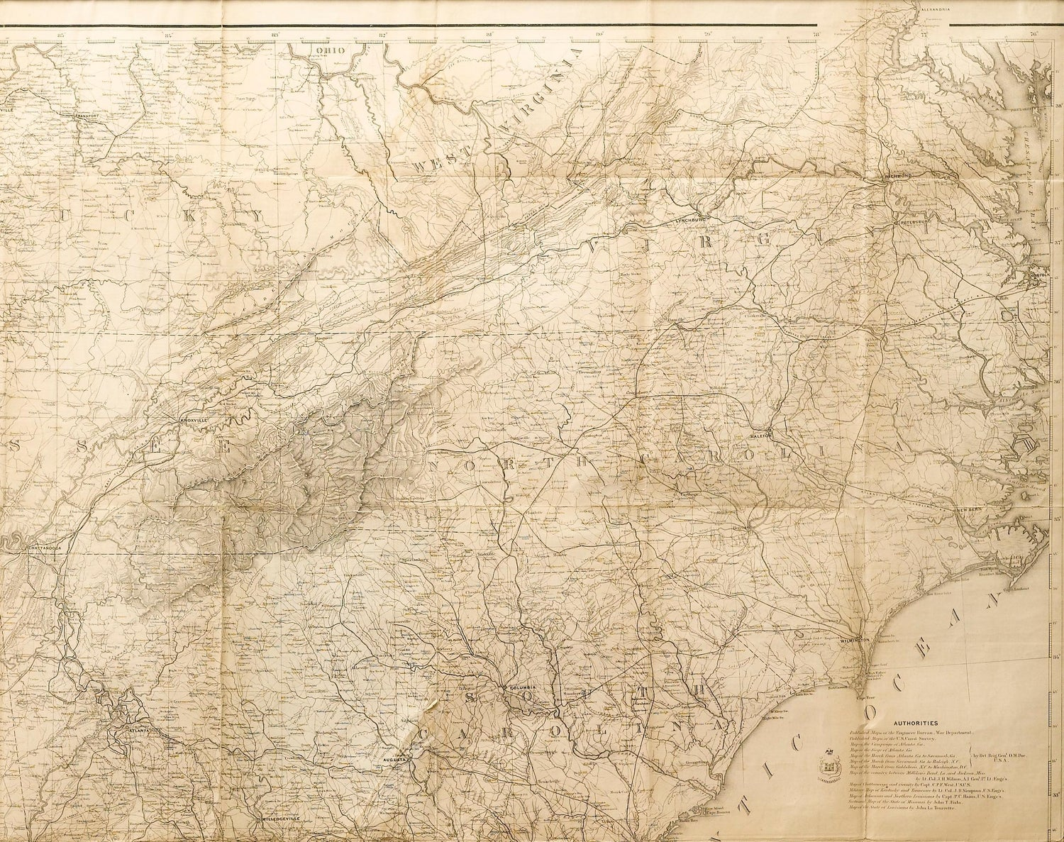 1865 Military Map Showing The Marches Of The Us Forces Under Maj - Map-of-us-in-1865