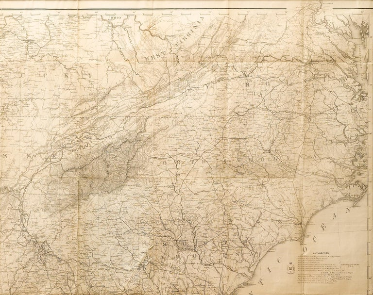 American 1865 Military Map Showing the Marches of the U.S. Forces under Maj. Gen. Sherman For Sale