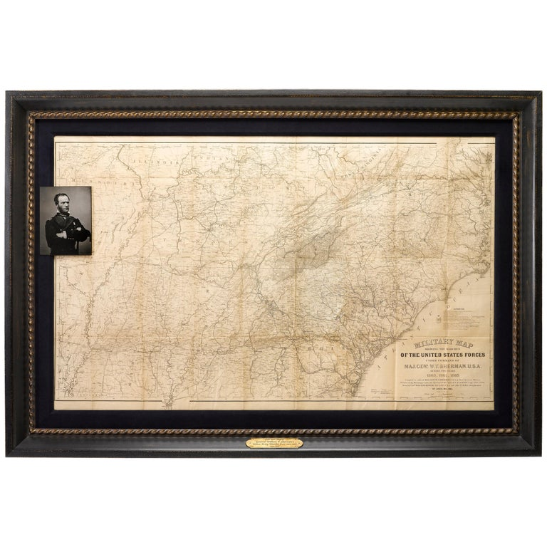 1865 Military Map Showing the Marches of the U.S. Forces under Maj. Gen. Sherman For Sale