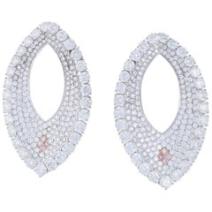18.66 Carat Total Weight Natural Pink and White Diamond Hoop Earrings