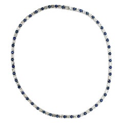 18.68 Carat Diamond and Blue Sapphire Necklace
