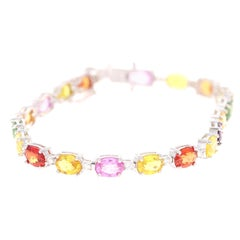 18.68 Carat Natural Sapphire Diamond 18 Karat White Gold Bracelet