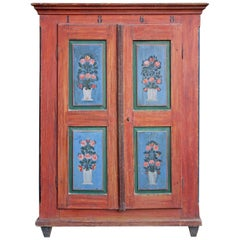 1868 Red and Blue Floral Painted Two Doors Wardrobe