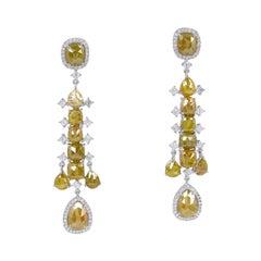 18.69 Carat Fancy Slice Diamond 18 Karat Gold Chandelier Earrings